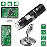 WiFi Microscopio Digital,HEYSTOP 1080P HD 2MP Mini Cámara,Aumento de 50 a 1000x Endoscopio,8 LED USB 2.0 Microscopio Ddigital con Metal Soporte Compatible iPhone iOS Teléfono Android iPad Windows Mac